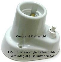 SWT E27 Porcelain SWITCHED Angle Batten Holder