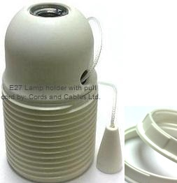 e27 bakelite lamp holder with pull cord switch 2 rings white. Black Bedroom Furniture Sets. Home Design Ideas